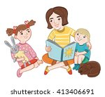 mom reading a book to children. ... | Shutterstock .eps vector #413406691