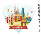 barcelona detailed silhouette.... | Shutterstock .eps vector #413407039
