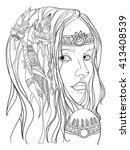 girl in boho style. vector   Shutterstock .eps vector #413408539