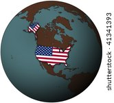 usa flag on map of earth globe | Shutterstock . vector #41341393