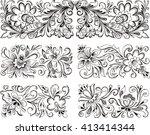 set of horizontal symmetric... | Shutterstock .eps vector #413414344