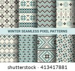 collection of pixel retro... | Shutterstock .eps vector #413417881