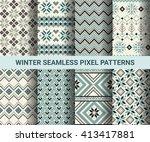 collection of pixel retro... | Shutterstock .eps vector #413417881