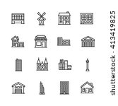 building icon set on white... | Shutterstock .eps vector #413419825
