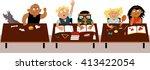 children sitting at their desks ... | Shutterstock .eps vector #413422054