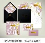 wedding print set. invitation... | Shutterstock .eps vector #413431354
