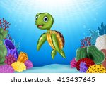 cute turtle with beautiful... | Shutterstock . vector #413437645