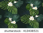 seamless pattern with exotic... | Shutterstock .eps vector #413438521