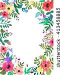 vector flowers background frame.... | Shutterstock .eps vector #413458885