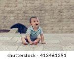 little toddler boy in blue body ... | Shutterstock . vector #413461291
