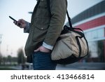 guy arrived to airport or... | Shutterstock . vector #413466814