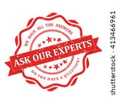 ask our experts   grunge red... | Shutterstock .eps vector #413466961