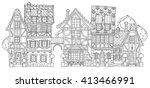 vector cute fairy tale town... | Shutterstock .eps vector #413466991
