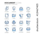 Stock vector simple set of document related color vector line icons contains such icons as batch processing 413467405