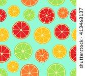 citrus seamless pattern. green  ... | Shutterstock .eps vector #413468137
