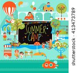 summer camp with kids....   Shutterstock .eps vector #413473789