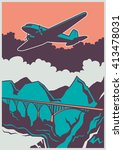 retro poster with airplane.... | Shutterstock .eps vector #413478031
