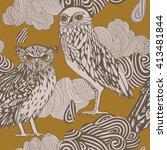 decorative owls pattern. | Shutterstock .eps vector #413481844
