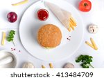 burger topped with vegetables ...   Shutterstock . vector #413484709