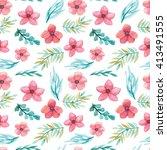 watercolor pink flowers  green... | Shutterstock . vector #413491555