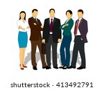 drawings businessmen on a white ... | Shutterstock . vector #413492791