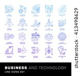 thin line icons set. simple... | Shutterstock .eps vector #413498629