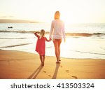 Happy Mother Young Daughter Beach - Fine Art prints