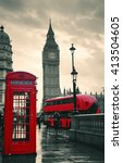 red telephone box and big ben... | Shutterstock . vector #413504605