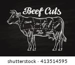 beef cuts. template menu design ... | Shutterstock .eps vector #413514595