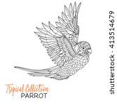 parrot. tropical bird. vector... | Shutterstock .eps vector #413514679