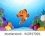 cartoon clown fish with... | Shutterstock .eps vector #413517301