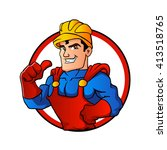 superhero handyman in circle | Shutterstock .eps vector #413518765