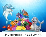 cartoon tropical fish with... | Shutterstock . vector #413519449