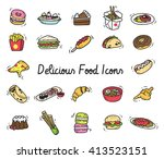 set of food icon in doodle style | Shutterstock . vector #413523151