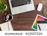 creative workspace on top view | Shutterstock . vector #413537224