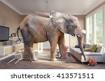 big elephant and the basket of... | Shutterstock . vector #413571511