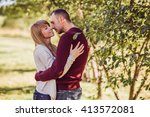 young couple in love having fun ... | Shutterstock . vector #413572081