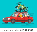 happy family riding in a car.... | Shutterstock .eps vector #413575681