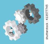 isometric businessman running... | Shutterstock .eps vector #413577745