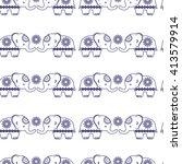 elephants. cute  seamless... | Shutterstock .eps vector #413579914