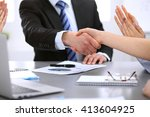 business people shaking hands ... | Shutterstock . vector #413604925