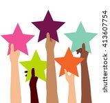 group of diversity hand holding ... | Shutterstock .eps vector #413607754