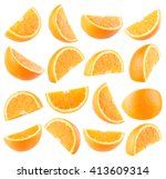 collection of 16 orange slices... | Shutterstock . vector #413609314
