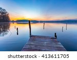 Sunrise Over Beautiful Lake In...