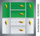 lithuania flag ribbon logo... | Shutterstock .eps vector #413624581