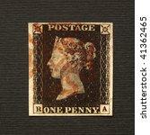 Uk   Circa 1840  A Penny Black...