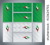 uae flag ribbon logo abstract... | Shutterstock .eps vector #413624701