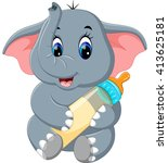 cute elephant cartoon | Shutterstock .eps vector #413625181