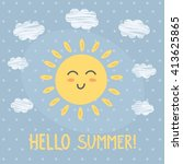 hello summer card with a cute... | Shutterstock .eps vector #413625865