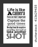 photography quote. life quote.... | Shutterstock .eps vector #413629435